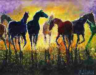 SIGNED PAINTING HORSES AT SUNSET