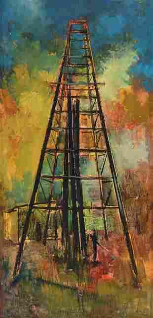 "WALTER McCOWN (TX 1932-1994) OIL DERRICK 48"" X 24"""
