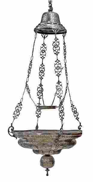SPANISH COLONIAL SILVER VOTIVE LAMP