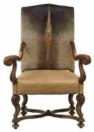 FRENCH CARVED WALNUT HIDE UPHOLSTERED FAUTEUIL