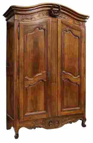 FRENCH PROVINCIAL LOUIS XV STYLE WALNUT ARMOIRE