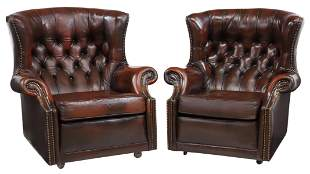 (2) ENGLISH TUFTED LEATHER WINGBACK ARMCHAIRS