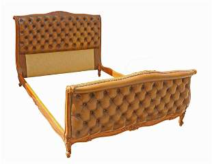FRENCH LOUIS XV STYLE BUTTON-TUFTED LEATHER BED