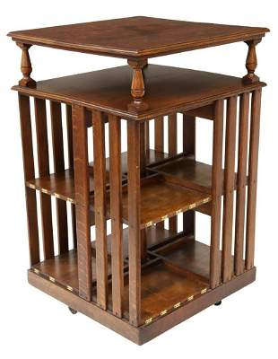 AMERICAN OAK ROTATING BOOKCASE LIBRARY STAND