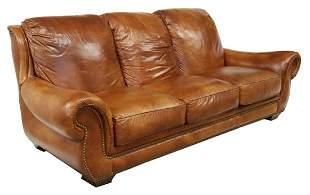 HANCOCK & MOORE BROWN LEATHER THREE-SEAT SOFA