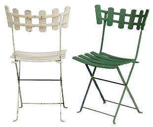 (10) FRENCH PAINTED FOLDING BISTRO GARDEN CHAIRS