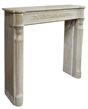 FRENCH NEOCLASSICAL CAST STONE FIREPLACE SURROUND