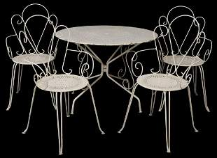 (5) FRENCH WHITE PAINTED IRON PATIO TABLE & CHAIRS