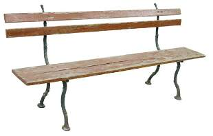 FRENCH PAINTED WOOD & CAST IRON GARDEN PARK BENCH