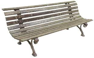 FRENCH SLATTED WOOD & CAST IRON GARDEN PARK BENCH