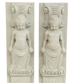 (2) ARCHITECTURAL FIGURAL CARVED & PAINTED PANELS