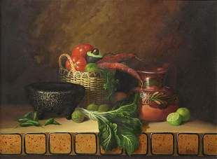 DANIEL OROZCO STILL LIFE PAINTING WITH MOLCAJETE