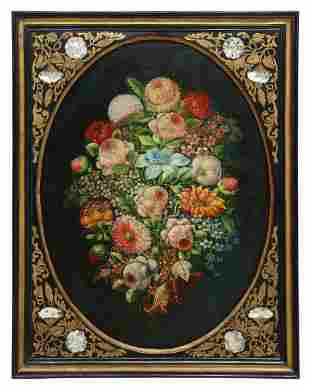 BAROQUE STYLE FLORAL STILL LIFE PAINTING MOP FRAME