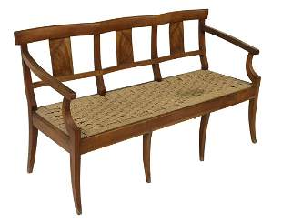 FRENCH PROVINCIAL WALNUT RUSH SEAT BENCH
