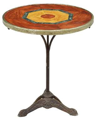 FRENCH MATCHED VENEER & CAST IRON PEDESTAL TABLE