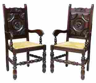 (2) FRENCH LOUIS XIII STYLE CARVED ARMCHAIRS