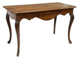 FRENCH LOUIS XV STYLE WALNUT WRITING TABLE DESK