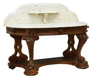 VICTORIAN MARBLE-TOP WALNUT CONSOLE TABLE