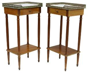 (2) LOUIS XVI STYLE MARBLE-TOP MAHOGANY STANDS