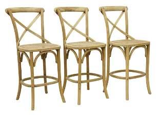 3)WILLIAMS-SONOMA (ATTRIB) CANE SEAT OAK BARSTOOLS
