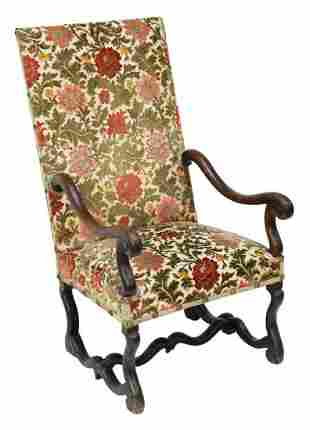 FRENCH LOUIS XIV STYLE UPHOLSTERED FAUTEUIL