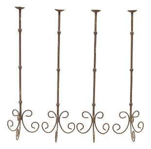(4) WROUGHT IRON TORCHIERE FLOOR LAMPS