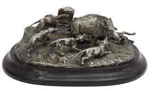 AFTER P. MENE SILVERED BRONZE DOGS HUNTING BOAR