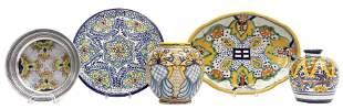(5) MEXICAN TALAVERA GLAZED POTTERY TABLEWARE