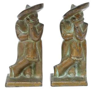 (2) HUBLEY CAST IRON 'LAZY PEDRO' BOOKENDS