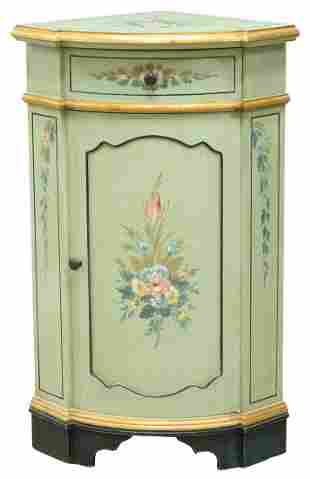 FRENCH PARCEL GILT PAINT DECORATED CORNER CABINET