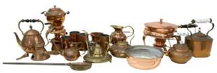 (lot) ANTIQUE COPPER & PEWTER KITCHENWARE ITEMS