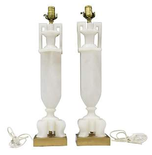 (2) CARVED WHITE MARBLE 1-LIGHT TABLE LAMPS