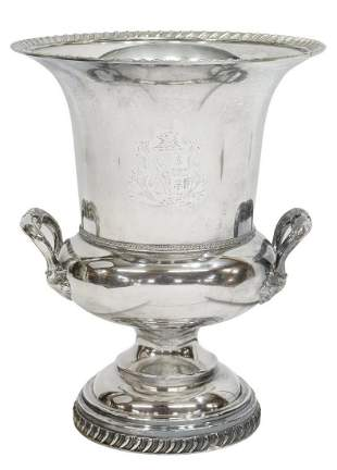 SILVER PLATE ARMORIAL CHAMPAGNE BUCKET