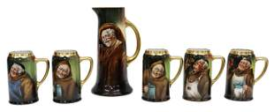(6) HAND-PAINTED PORCELAIN MONKS DRINKS SERVICE