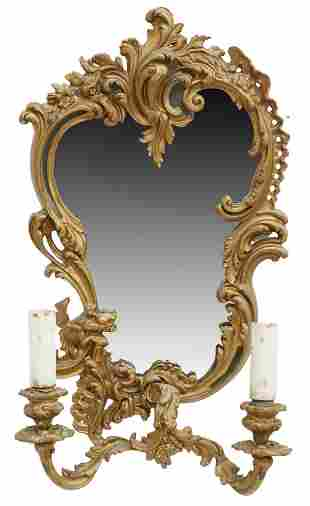 FRENCH LOUIS XV STYLE GILT METAL MIRRORED SCONCE