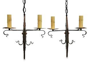 (2) WROUGHT IRON TWO-LIGHT CHANDELIERS