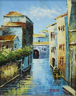 DECORATIVE FRAMED VENETIAN CANAL OIL PAINTING