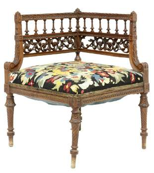 FRENCH LOUIS XVI STYLE CARVED CORNER CHAIR