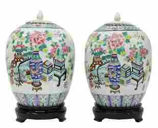 (2) CHINESE FAMILLE ROSE PORCELAIN LIDDED JARS