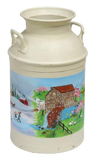 PAINT-DECORATED IRON MILK CAN PAIL
