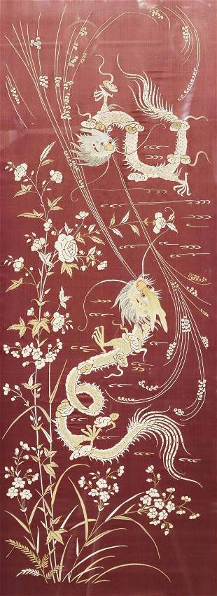 FRAMED CHINESE SILK EMBROIDERY WITH DRAGONS
