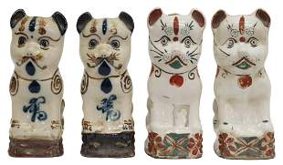 (4) CHINESE CERAMIC CAT INCENSE HOLDERS