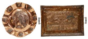 (2) MODERNIST AZTEC MOTIF COPPER CHARGER & A TRAY