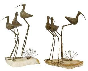 (2) CURTIS JERE, SHORE BIRDS ON ROCK, SCULPTURE