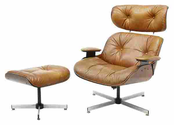 (2) EAMES STYLE LEATHER LOUNGE CHAIR & OTTOMAN
