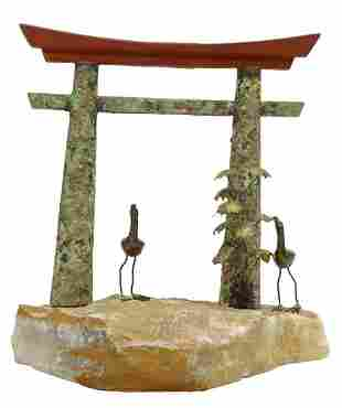 CURTIS JERE, TEMPLE GATE, MIXED METAL SCULPTURE