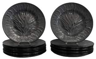 (16) LALIQUE 'ALGUES' BLACK FROSTED DINNER PLATES