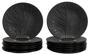 17) LALIQUE 'ALGUES' BLACK FROSTED LUNCHEON PLATES