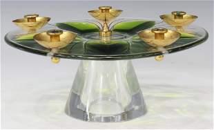LALIQUE FRANCE ART GLASS FOOTED 5-LT CANDELABRUM