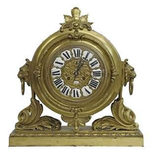 FRENCH RAINGO FRERES BRONZE MANTEL CLOCK W/ LIONS